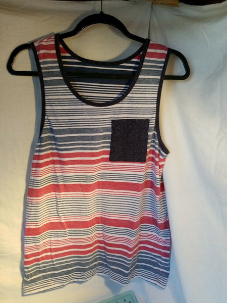 Men's Blue Red Striped Pocket Muscle Tank Top