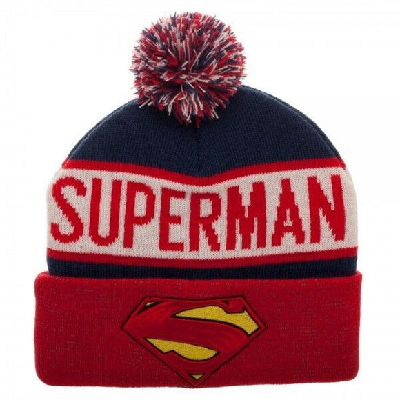Superman Reflective Winter Pom Beanie Red DC Comics