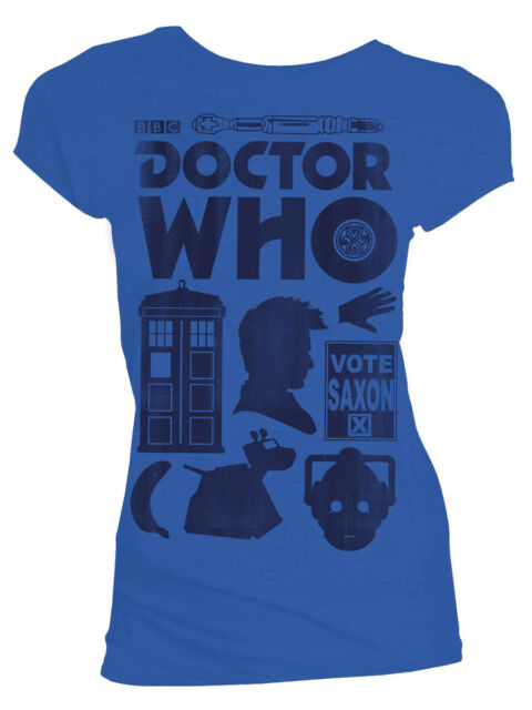 Womens Blue  Doctor Who: T-Shirt: Vector Icons Tenth Doctor Blue Distressed Tee T shirt