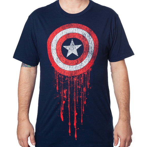 Mens Navy Marvel Captain America Battle-Worn Blood Faded Tee T-Shirt