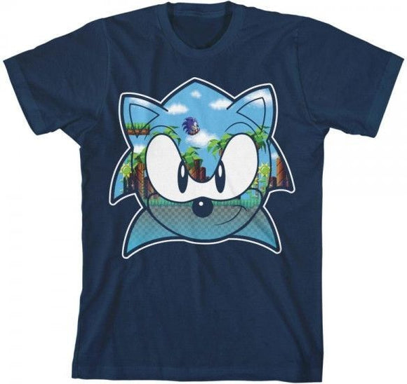 Boys Youth Classic Sonic The Hedgehog Retro Video Game Face Tee T-Shirt