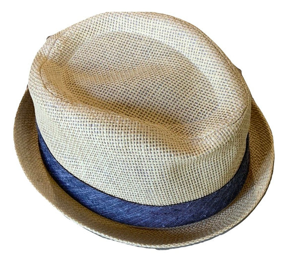 Mens Tan Straw Blue Ribbon Fedora Hat