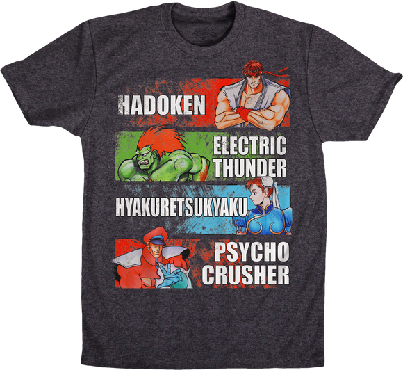 Mens Dark Grey Heather Street Fighter Special Moves Names Ryu Hadoken Graphic Tee T-Shirt