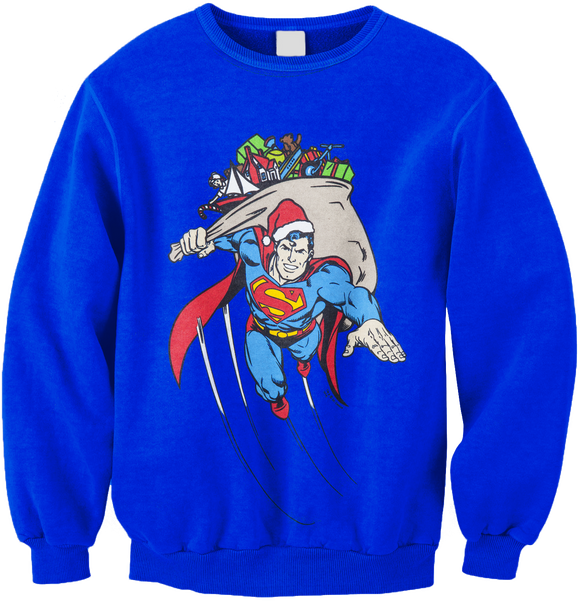 Mens Blue Superman Flying Christmas Holiday Gifts DC Comics Retro 80's Cartoon Sweater Sweatshirt