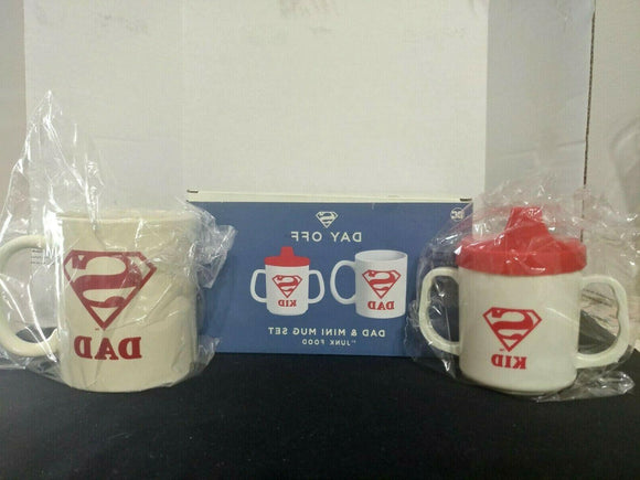 Superman Day Off Dad Coffee Mug & Kid Sippy Cup Set DC Comics Junk Food