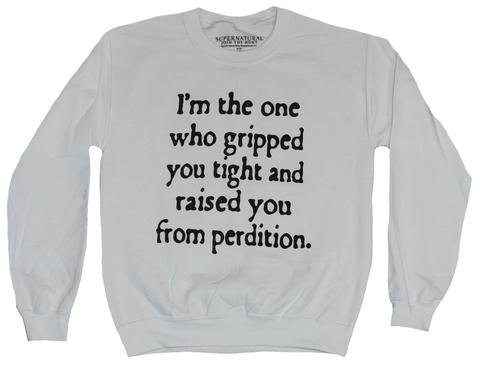 Womens Juniors Grey Heather Supernatural Im The One Oversized Crewneck Sweater