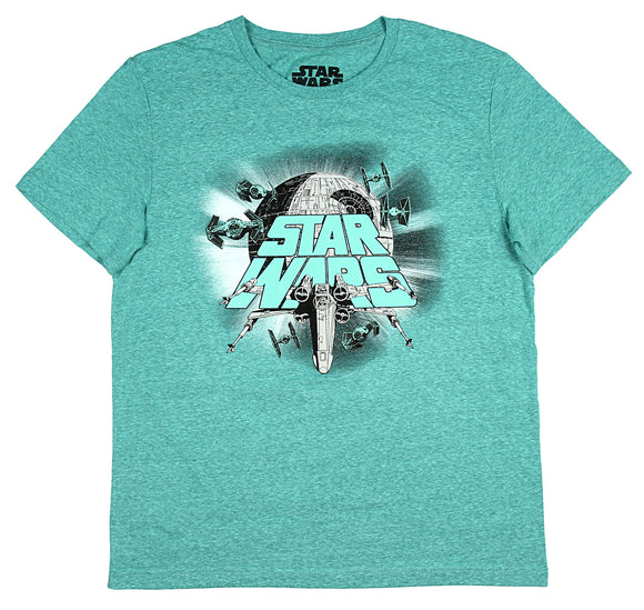 Mens Star Wars Epic Space Battle Ships X wing Death Star Tee T Shirt