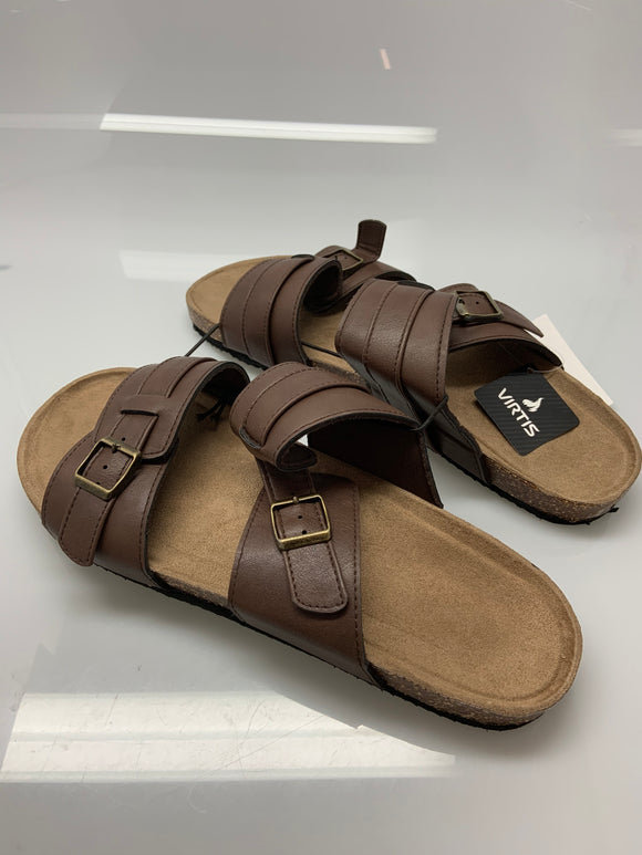 Adult Virtis Brown Double Buckle Sandals