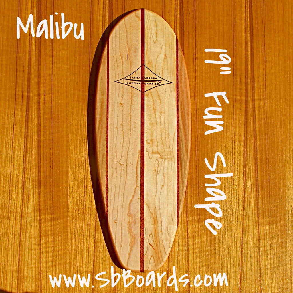 "Malibu 19"" Classic Fun Shape Surfboard Cutting Board & Serving Platter"