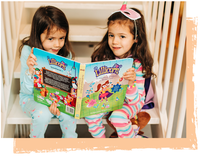 Two little girls sitting on stairs and reading The Adventures of Lillicorn in WooWoo Land book by QuestFriendz