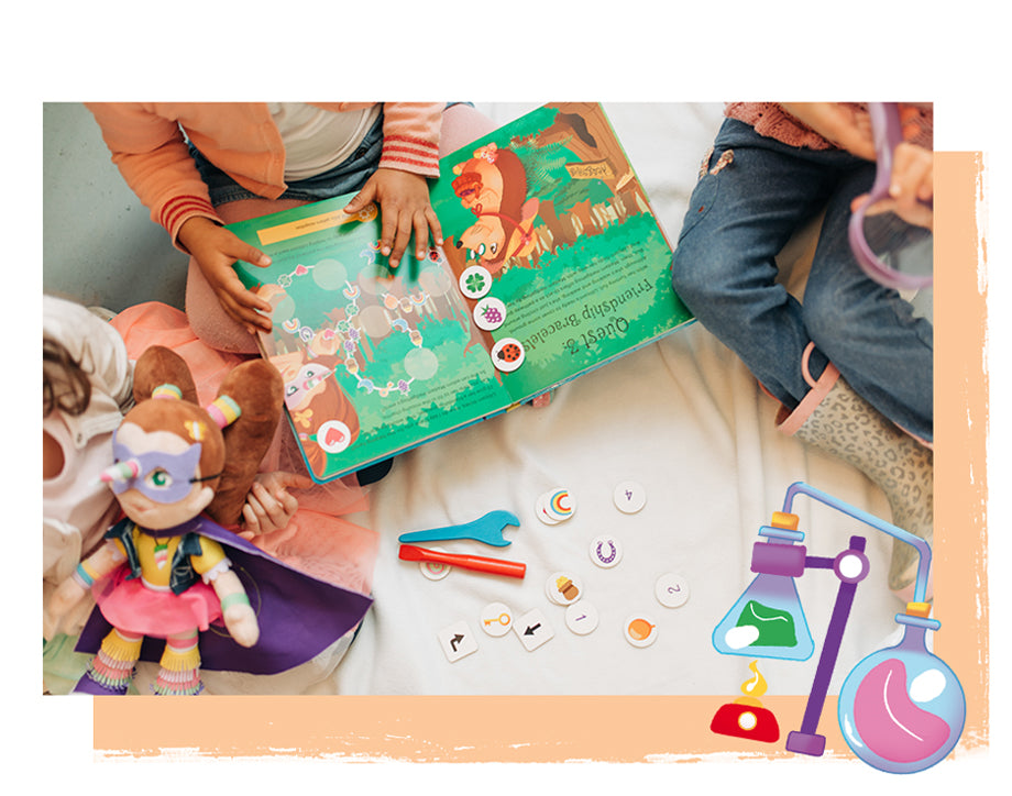 Children playing with The Adventures of Lillicorn book and doll by STEM educational publisher QuestFriendz