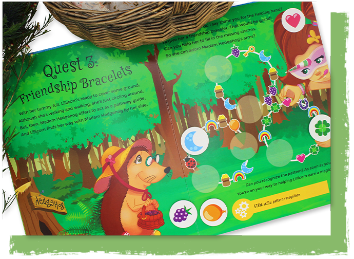 Colourful spread Quest 3 from The Adventures of Lillicorn in WooWoo Land book by publisher QuestFriendz
