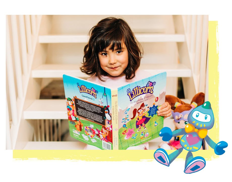 Little girl sitting on stairs with The Adventures of Lillicorn book open by STEM educational publisher QuestFriendz