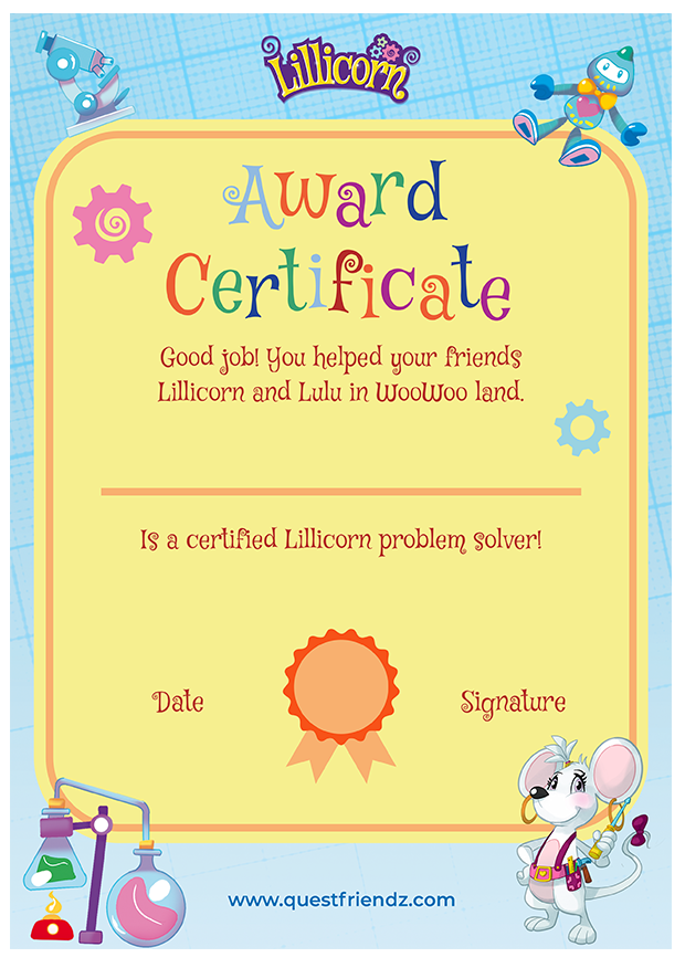 Lillicorn problem solver award certificate available to download by STEM publisher QuestFriendz