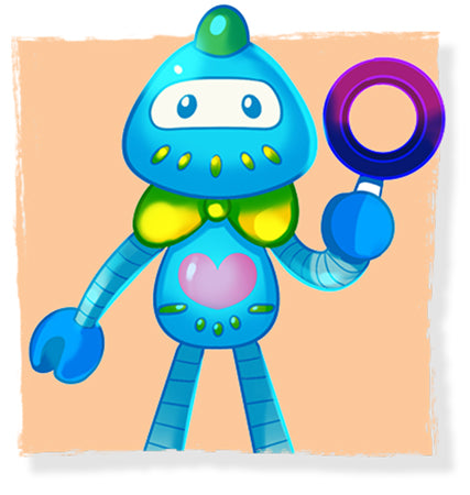 Meet B-bot the robot Lulu's trusted sidekick in The Adventures of Lillicorn book by QuestFriendz