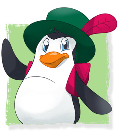 Meet Mr. Waddles penguin with hat Lillicorn's friend in The Adventures of Lillicorn book by QuestFriendz