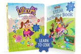 The book cover of the Adventures of Lillicorn and cover the STEM activity book by Publisher QuestFriendz