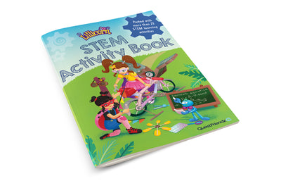 The book cover of the STEM activity book by Publisher QuestFriendz