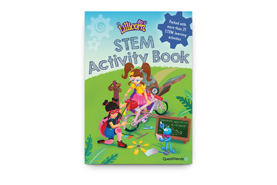 The cover of STEM activity book by Publisher QuestFriendz