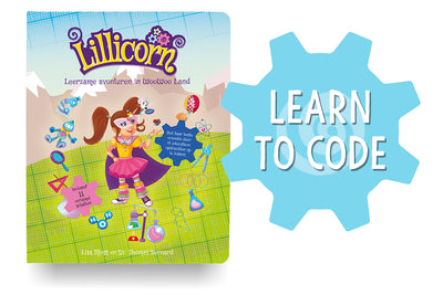 The Adventures of Lillicorn in WooWoo Land cover in Dutch with Learn to Code logo by publisher QuestFriendz