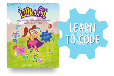 The Adventures of Lillicorn in WooWoo Land cover in French with Learn to Code logo by publisher QuestFriendz