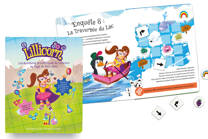The book cover of the Adventures of Lillicorn and open book on Quest 8 in French by Publisher QuestFriendz