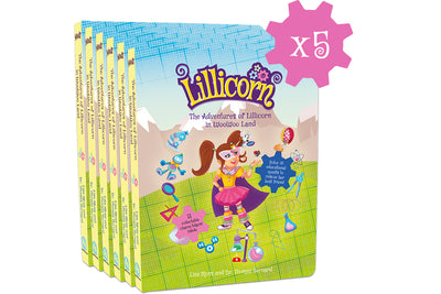 5 x The Adventures of Lillicorn in WooWoo Land cover in English, Dutch and French publisher QuestFriendz
