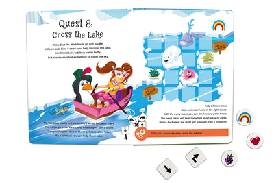 Inside spread quest 8 of The Adventures of Lillicorn in WooWoo Land cover by STEM publisher QuestFriendz