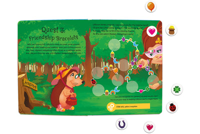 Inside spread quest 3 of The Adventures of Lillicorn in WooWoo Land cover by STEM publisher QuestFriendz