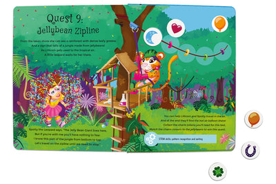 Inside spread quest 9 of The Adventures of Lillicorn in WooWoo Land in Dutch by STEM publisher QuestFriendz