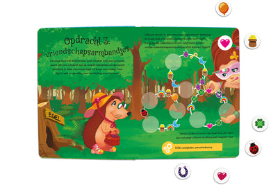 Inside spread quest 3 of The Adventures of Lillicorn in WooWoo Land in Dutch by STEM publisher QuestFriendz