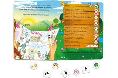 Inside spread quest overview of The Adventures of Lillicorn in WooWoo Land in French by publisher QuestFriendz