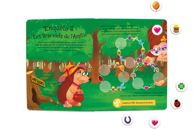 Inside spread quest 3 of The Adventures of Lillicorn in WooWoo Land in French by STEM publisher QuestFriendz