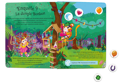 Inside spread quest 9 of The Adventures of Lillicorn in WooWoo Land in French by STEM publisher QuestFriendz