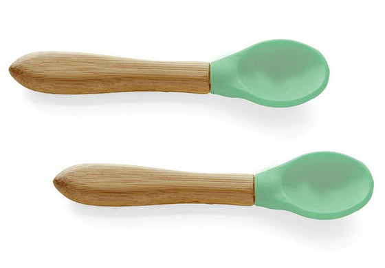Bamboo/Silicone Baby Feeding Spoons, Soft Teether, & Training Spoons - 2