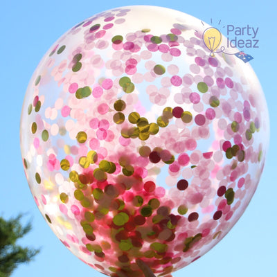 Pink and Gold Decorations, Jumbo Confetti Balloons & Trail