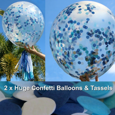 Blue Confetti Balloons, Boy Baby Shower Decorations
