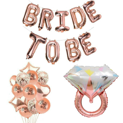 Rose Gold Bridal Shower Decorations, Bride to Be Banner, Engagement Ring Balloon
