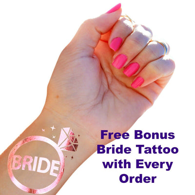 Bride to Be Veil, Hen Party, Bridal Shower Accessories - Bonus Free Tattoo