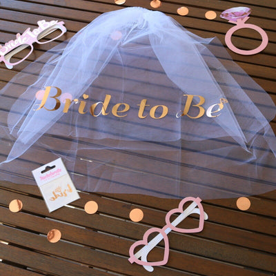 Bride to Be Sash Rose Gold, Team Bride, Bridesmaid, Hen Party Bride Veil & Tiara