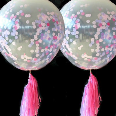 Jumbo Pink Balloons, Pink Confetti Balloons and matching Tassels