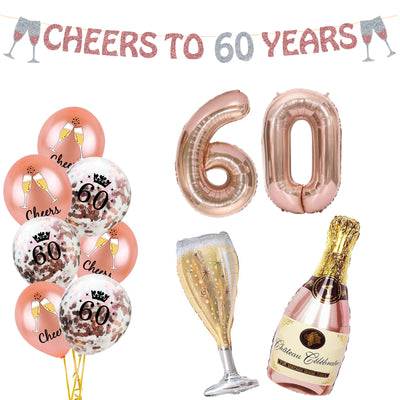 60th Birthday Decorations for her, Rose Gold 60th Balloons and Banner