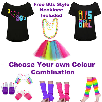 80s Fancy Dress Outfit, Rainbow Tutu, 80s Top and Accessories