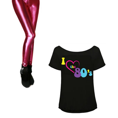 80s Fancy Dress Costume, Leggings, Top and Accessories