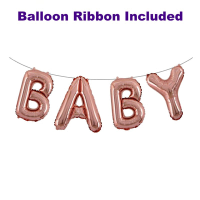 Rose Gold Baby Balloons Banner, Rose Gold Baby Shower Decorations