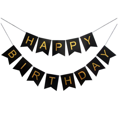 Happy Birthday Banner - Black and Gold