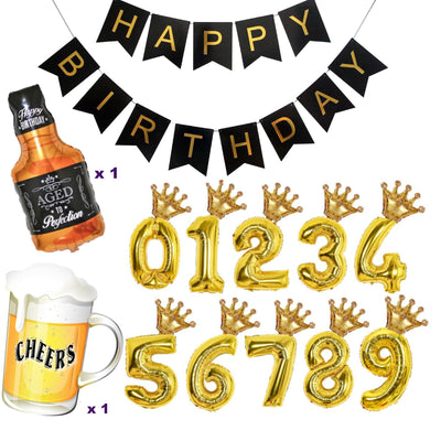Number Balloons, 18th 21st 30th 40th 50th Birthday Decorations, Cheers & Beers