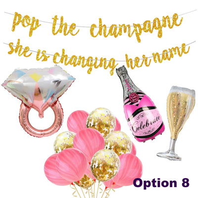 Bridal Shower Decorations - Pop the Champagne She is Changing her name Banner