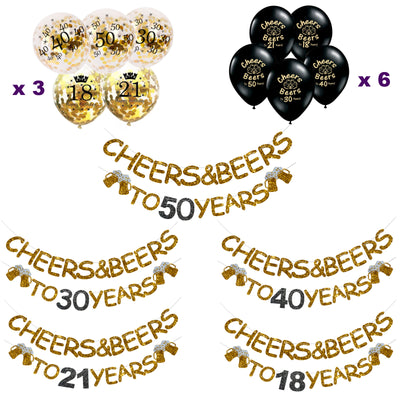 Cheers and Beers Decorations 18th, 21st, 30th, 40th, 50th - Banner, Photo Props & Balloons