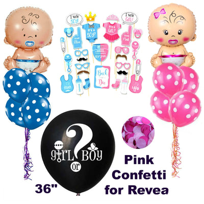 Boy or Girl Baby Shower Decorations, Gender Reveal Photo Props